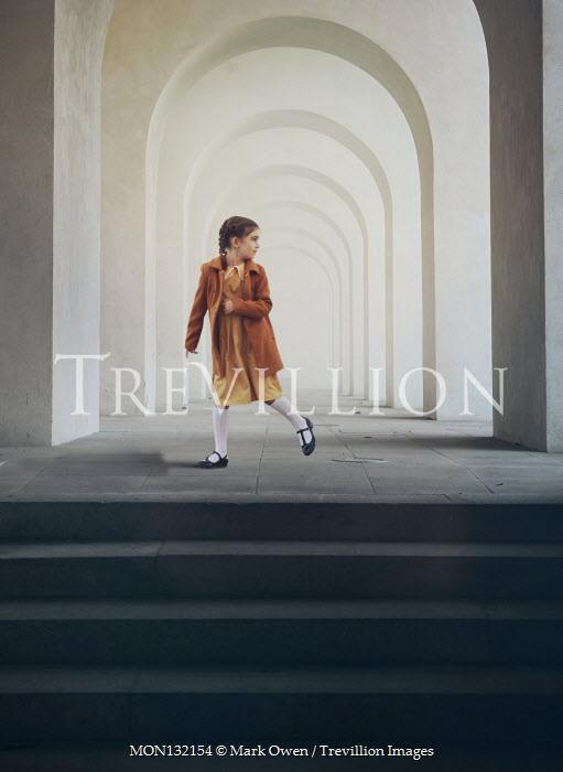 Mark Owen LITTLE GIRL RUNNING INSIDE ARCHED BUILDING Children