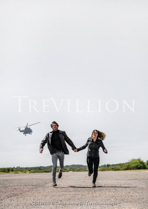 CollaborationJS HELICOPTER CHASING RUNNING COUPLE HOLDING HANDS Couples