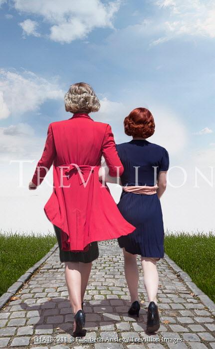 Elisabeth Ansley TWO WOMEN WALKING ARM IN ARM OUTDOORS Women