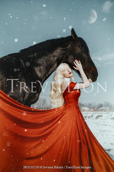 Jovana Rikalo BLONDE WOMAN IN RED GOWN WITH HORSE IN SNOW Women