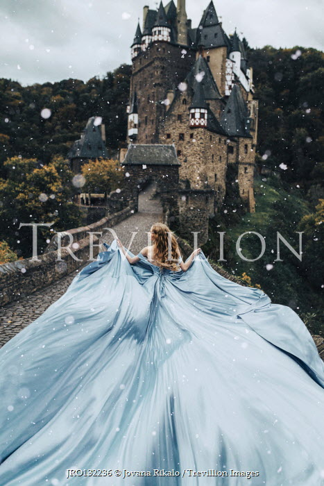 Jovana Rikalo WOMAN WITH FLOWING GOWN BY FAIRYTALE CASTLE Women