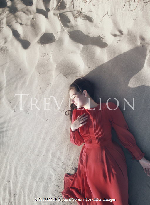 Mark Owen GIRL IN RED DRESS SLEEPING ON SANDY BEACH Women