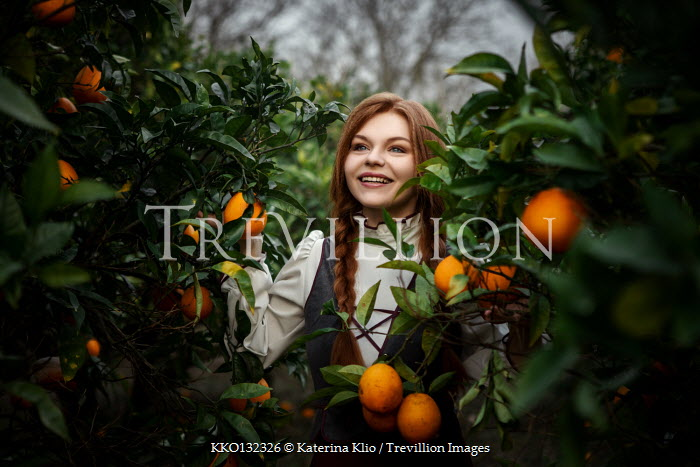 Katerina Klio HAPPY GIRL WITH RED HAIR BY ORANGE TREES Women