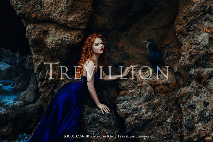 Katerina Klio WOMAN WITH RED HAIR AND BIRD ON CLIFF Women