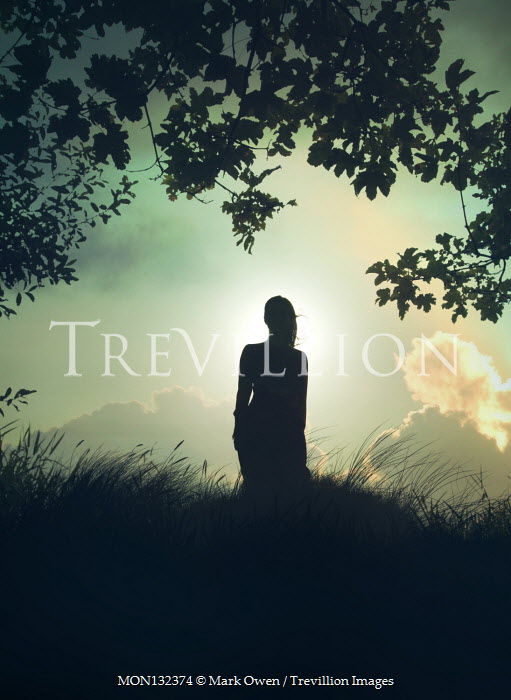 Mark Owen SILHOUETTED WOMAN IN FIELD WITH TREE AT SUNSET Women