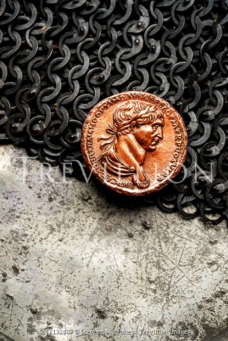 Stephen Mulcahey ROMAN COIN LYING ON CHAINMAIL Miscellaneous Objects