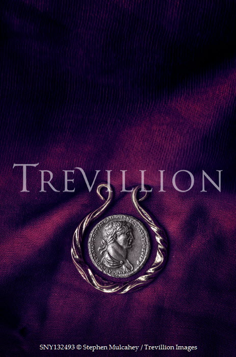 Stephen Mulcahey SILVER ROMAN COIN ON PURPLE CLOTH Miscellaneous Objects