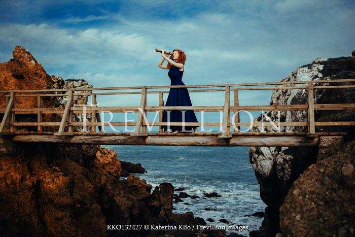 Katerina Klio WOMAN ON BRIDGE BY SEA WITH TELESCOPE Women