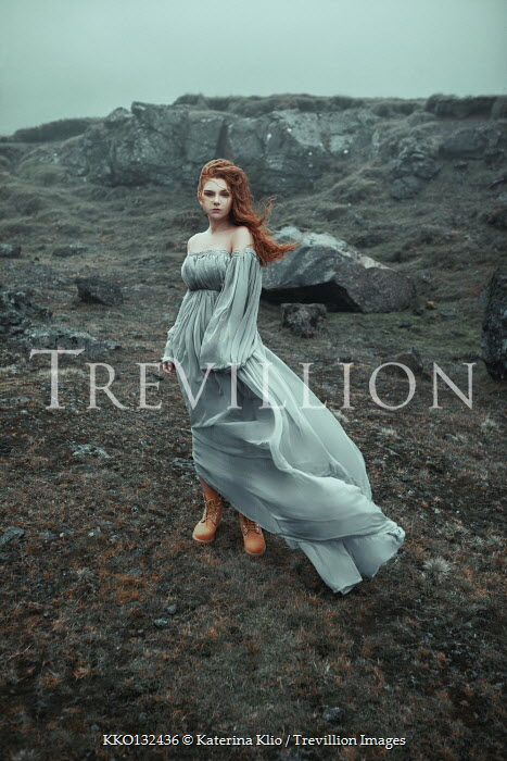 Katerina Klio WOMAN WITH RED HAIR IN GOWN ON MOORS Women
