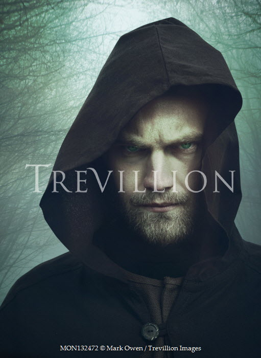 Mark Owen ANGRY MAN WITH BEARD IN HOODED CAPE OUTDOORS Men