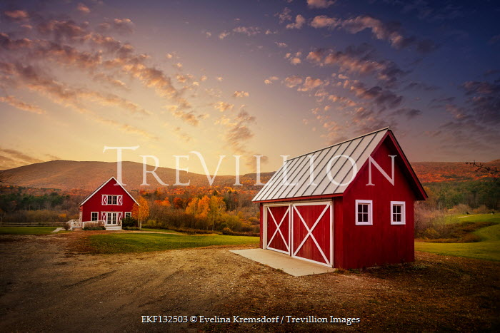Evelina Kremsdorf FARMHOUSE AND BARN WITH HILLS AT SUNSET Houses