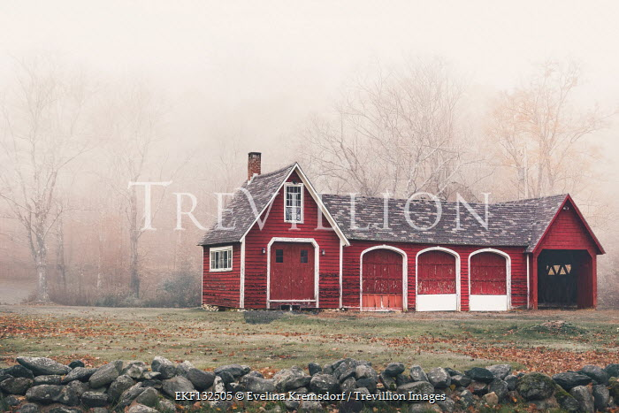 Evelina Kremsdorf RED WOODEN BUILDING IN FOGGY COUNTRYSIDE Miscellaneous Buildings