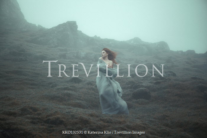 Katerina Klio WOMAN WITH RED HAIR AND GOWN ON MISTY MOUNTAIN Women