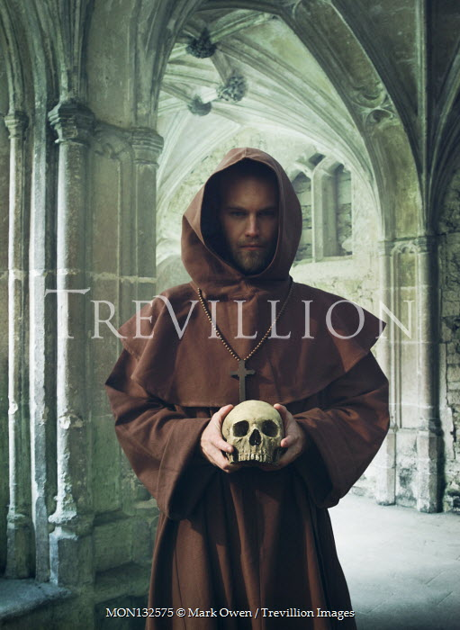 Mark Owen MONK HOLDING SKULL IN MONASTERY Men