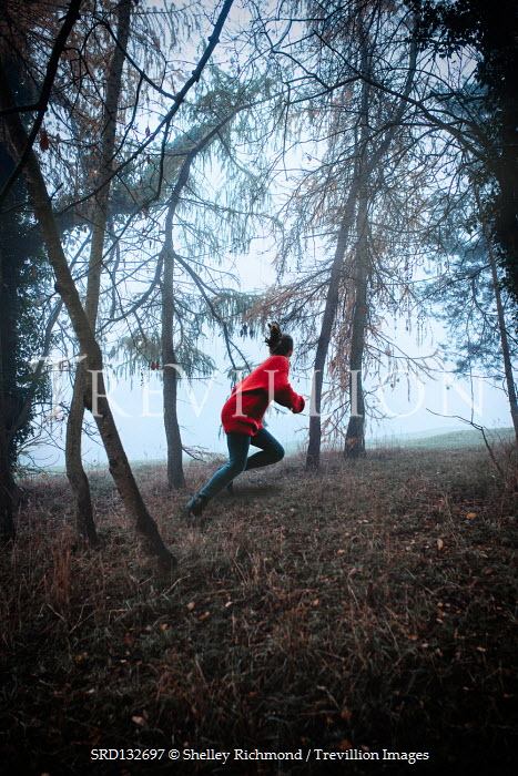Shelley Richmond GIRL WITH RED SWEATER RUNNING IN FOREST Children