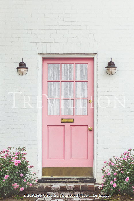 Evelina Kremsdorf WHITE HOUSE WITH PINK DOOR AND ROSES Houses