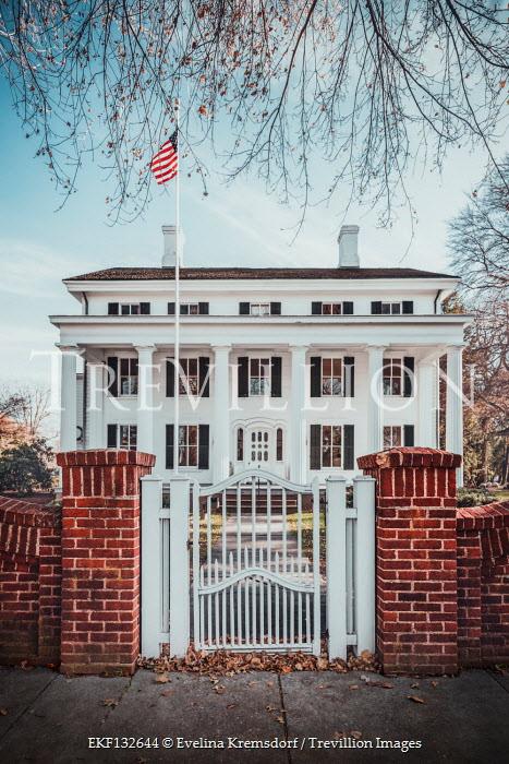 Evelina Kremsdorf GRAND AMERICAN HOUSE WITH PILLARS AND FLAG Houses