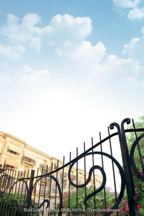 ILINA SIMEONOVA GRAND BUILDING WITH WROUGHT IRON GATES Houses