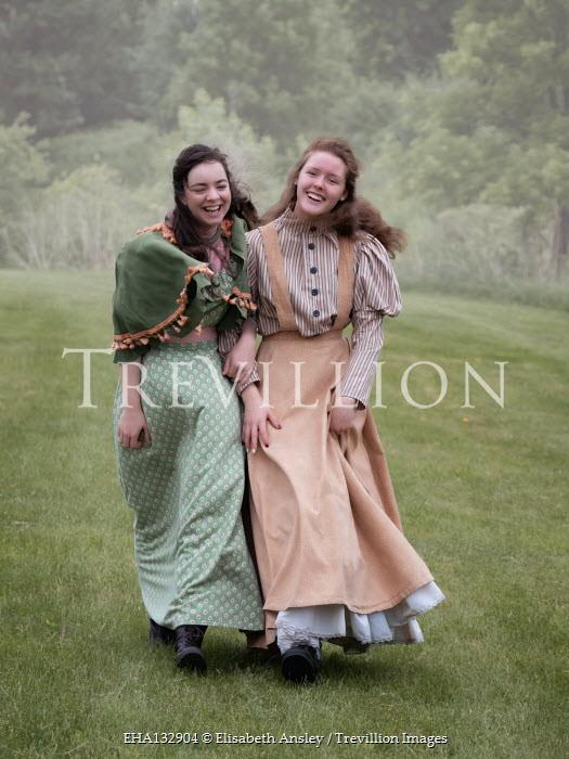 Elisabeth Ansley TWO HAPPY HISTORICAL WOMEN WALKING OUTDOORS Women
