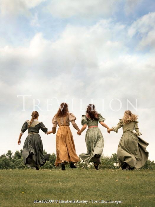 Elisabeth Ansley FOUR HISTORICAL WOMEN HOLDING HANDS IN GARDEN Groups/Crowds