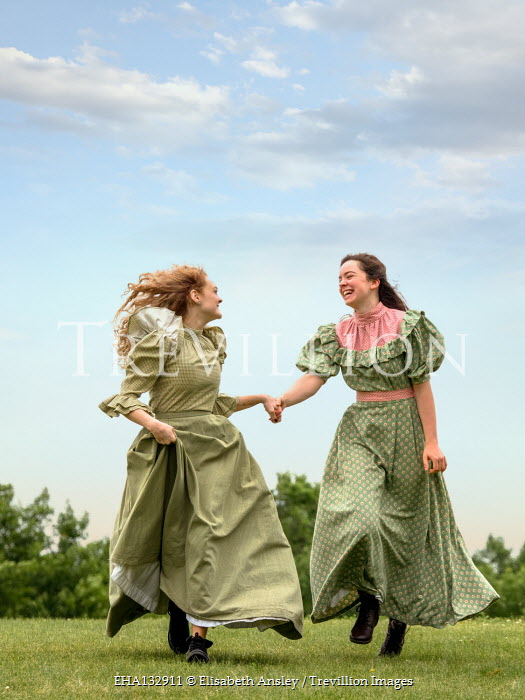 Elisabeth Ansley TWO HAPPY HISTORICAL GIRLS RUNNING IN GARDEN Women