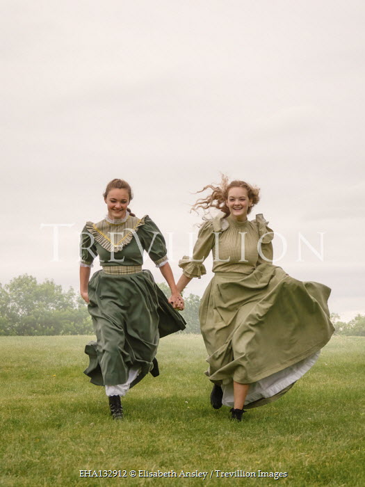 Elisabeth Ansley TOW HAPPY HISTORICAL WOMEN RUNNING OUTDOORS Women