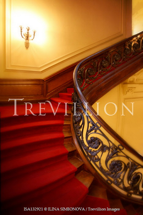 ILINA SIMEONOVA GRAND WOODEN STAIRCASE WITH RED CARPET Stairs/Steps