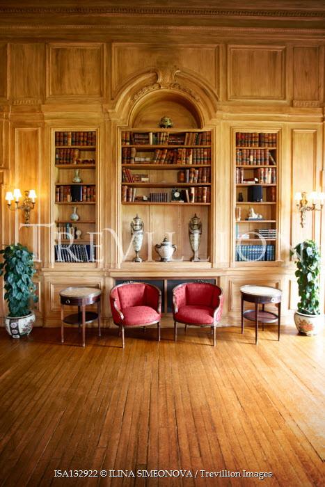 ILINA SIMEONOVA WOODEN INTERIOR WITH FURNITURE BOOKS AND ORNAMENTS Interiors/Rooms