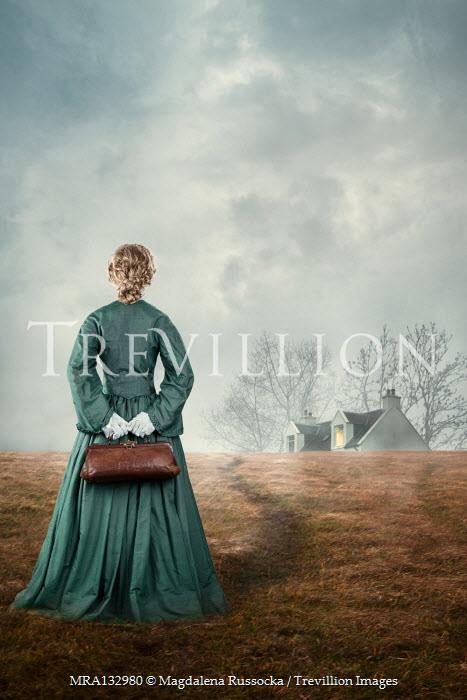 Magdalena Russocka historical woman holding medic bag watching cottage