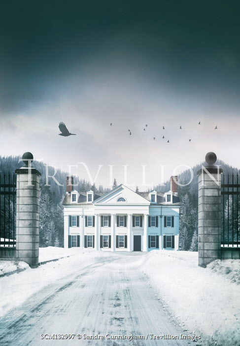 Sandra Cunningham GRAND COUNTRY HOUSE WITH GATEPOSTS IN SNOW Houses