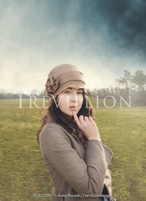 Anna Buczek BRUNETTE WOMAN WITH HAT IN COUNTRYSIDE Women