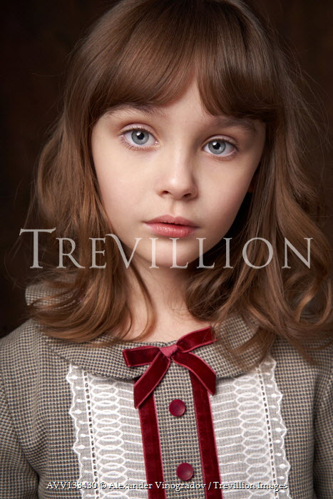 Alexander Vinogradov LITTLE GIRL WITH BROWN HAIR AND BLUE EYES Children