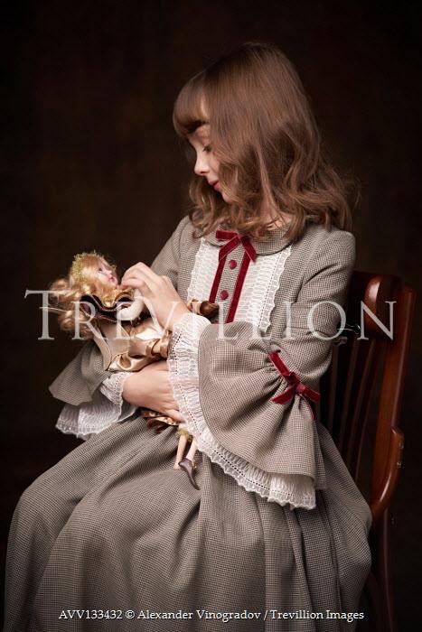 Alexander Vinogradov LITTLE GIRL WITH BROWN HAIR SITTING WITH DOLL Children