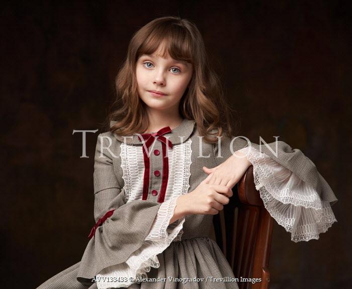 Alexander Vinogradov LITTLE GIRL SITTING WITH BROWN HAIR AND DRESS Children