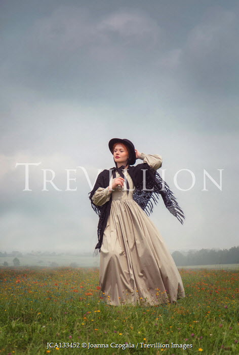 Joanna Czogala HISTORICAL WOMAN WITH SHAWL AND HAT IN COUNTRYSIDE Women