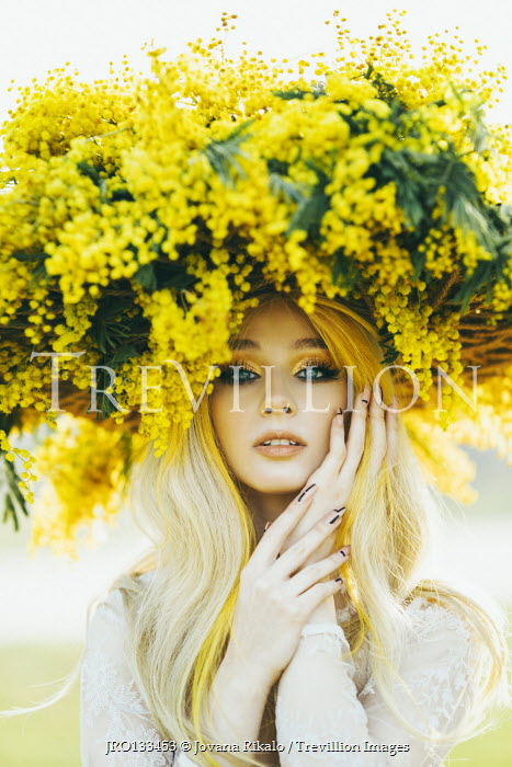 Jovana Rikalo BLONDE WOMAN WITH YELLOW FLOWERS ON HEAD Women