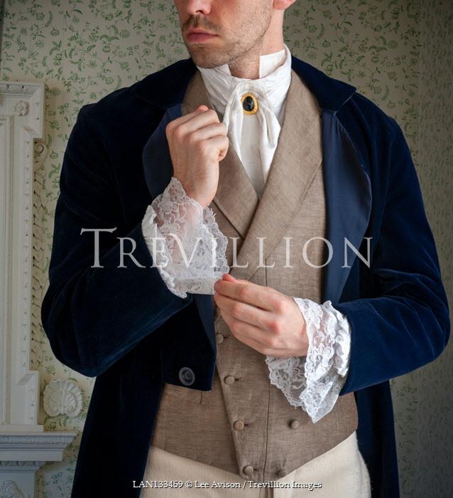 Lee Avison anonymous regency man adjusting his lacy sleeves