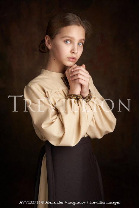 Alexander Vinogradov SERIOUS YOUNG GIRL IN BROWN DRESS