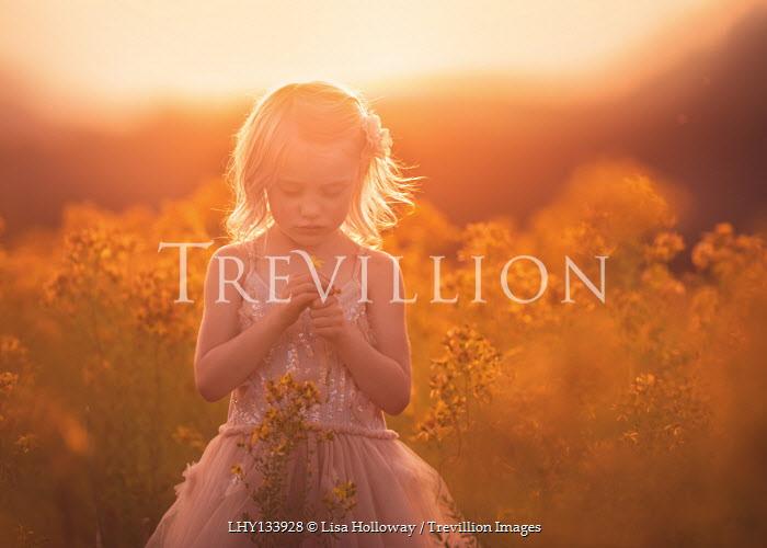 Lisa Holloway BLONDE LITTLE GIRL IN SUNLIT MEADOW