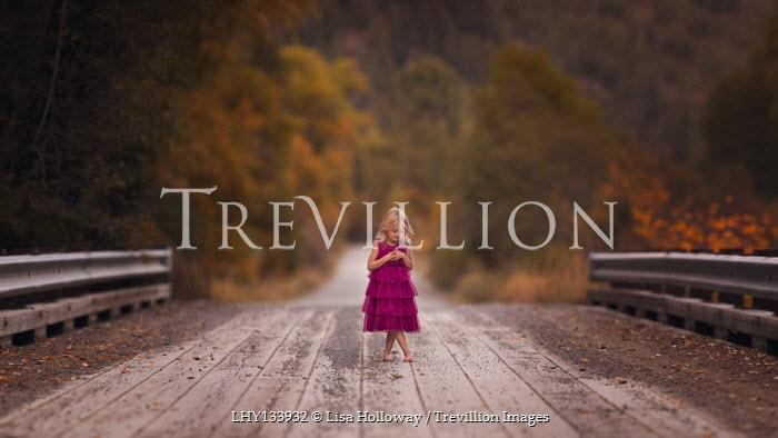 Lisa Holloway BLONDE LITTLE GIRL ON BRIDGE IN AUTUMN