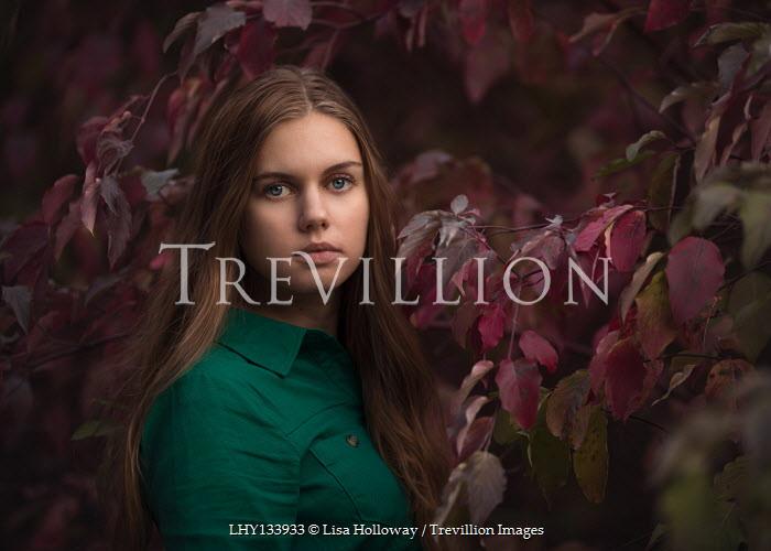 Lisa Holloway BRUNETTE GIRL BY TREE IN GARDEN