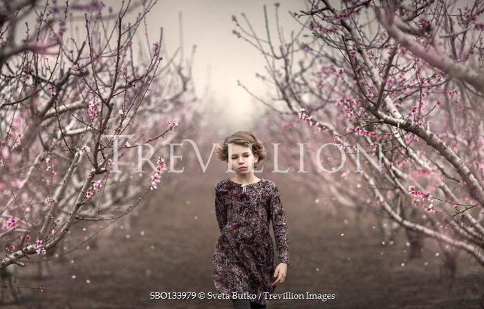 Sveta Butko LITTLE GIRL WALKING BY TREES IN BLOSSOM
