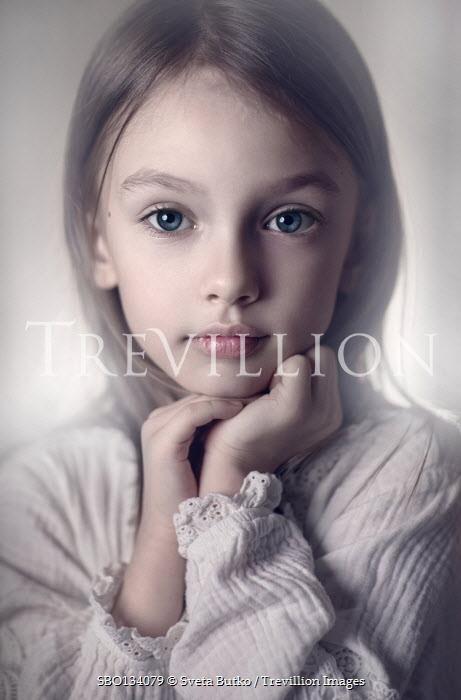 Sveta Butko SERIOUS BLONDE LITTLE GIRL IN WHITE DRESS