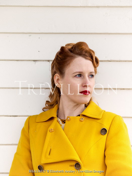 Elisabeth Ansley WOMAN WITH RED HAIR IN YELLOW COAT