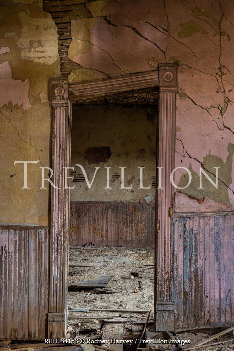 Rodney Harvey LEANING DOORWAY IN DERELICT HOUSE
