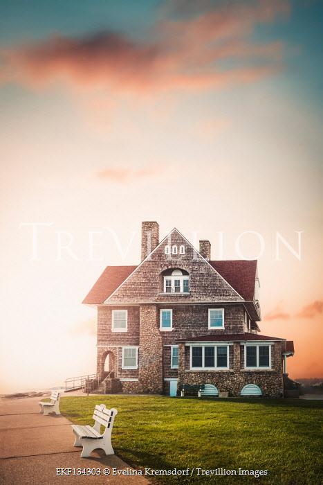 Evelina Kremsdorf COASTAL HOUSE WITH PATHWAY AT SUNSET