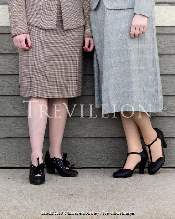 Elisabeth Ansley TWO RETRO WOMEN STANDING OUTDOORS