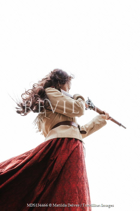 Matilda Delves HISTORICAL AMERICAN WOMAN POINTING RIFLE OUTDOORS