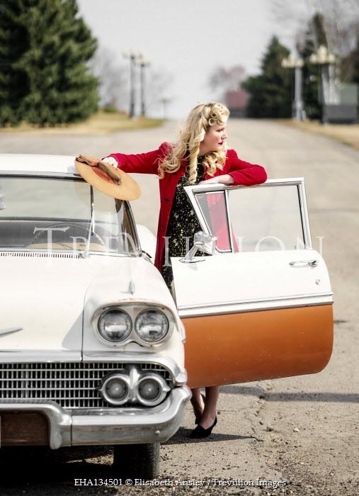 Elisabeth Ansley RETRO WOMAN LEANING ON OPEN CAR DOOR