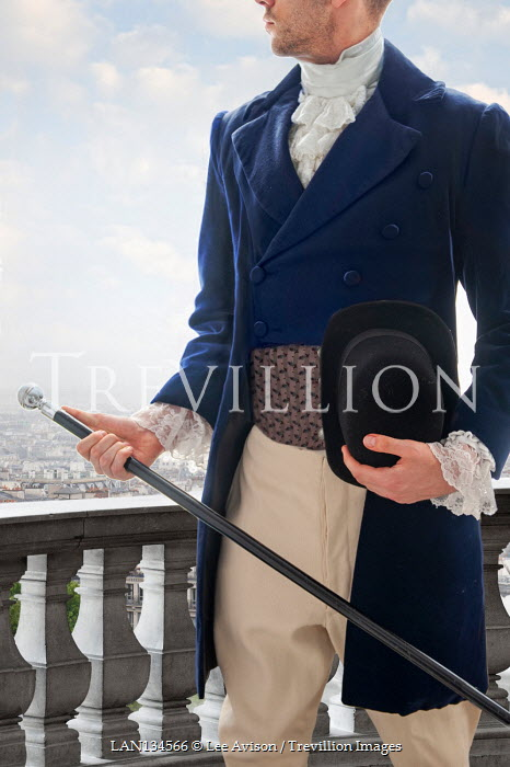 Lee Avison anonymous regency man holding cane and top hat